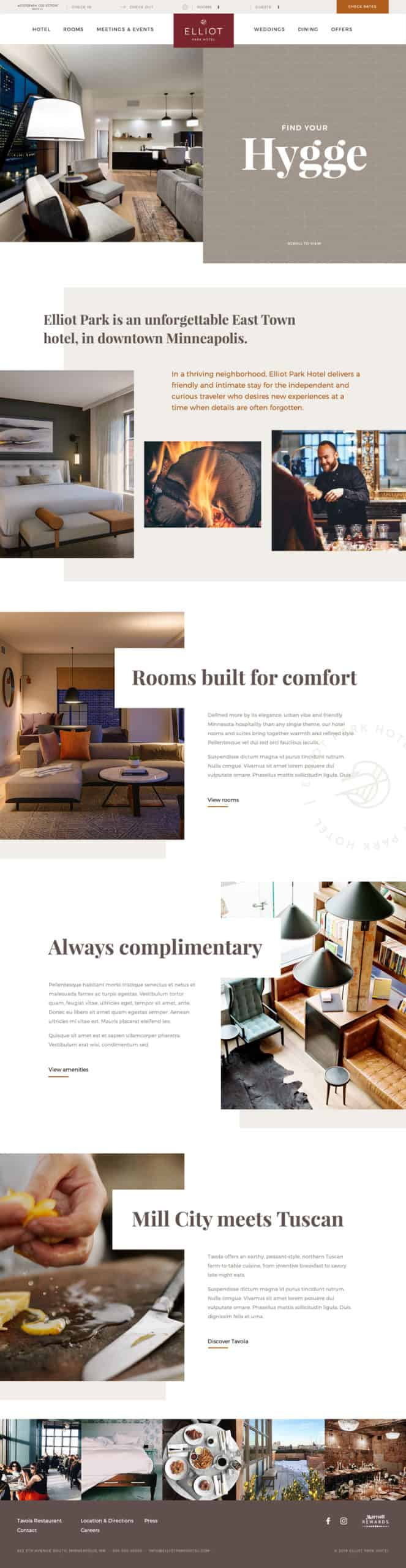 Screenshot of the Elliot Park Hotel Homepage