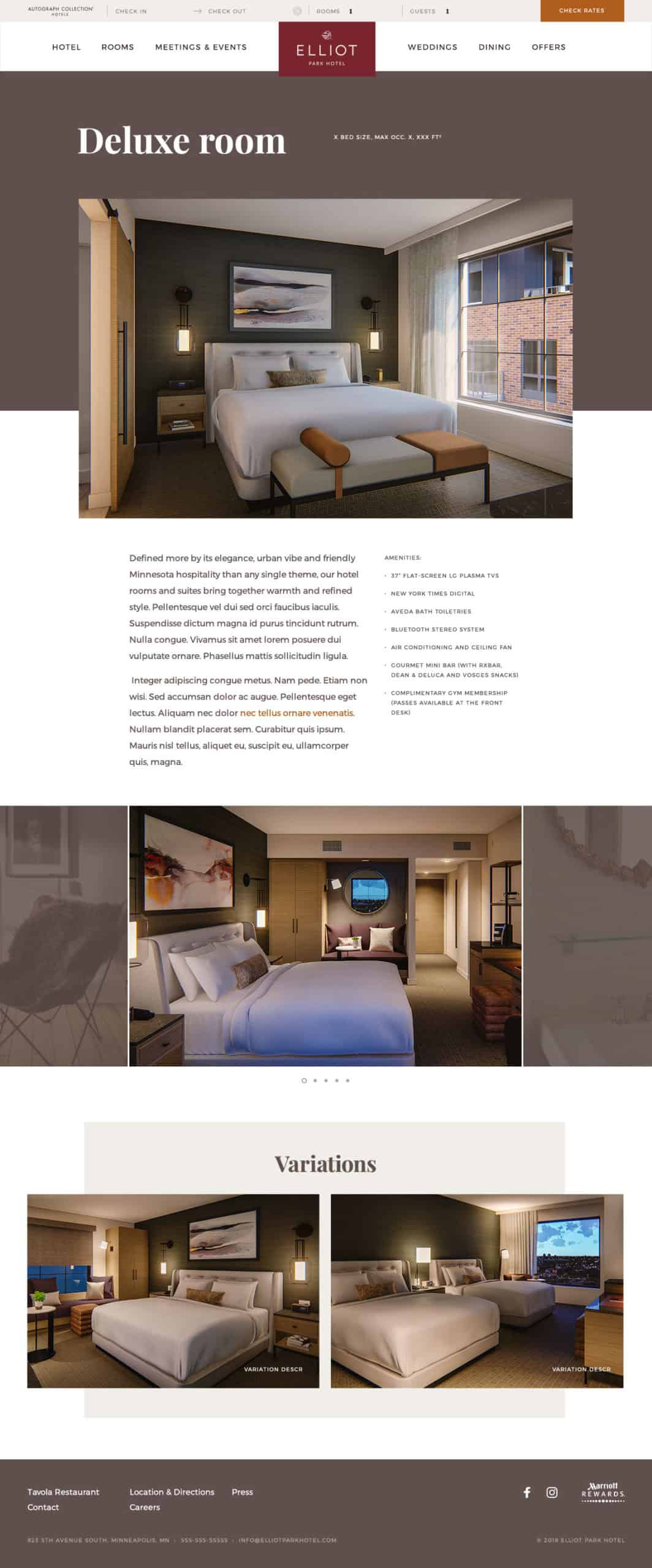 Screenshot of the Elliot Park Hotel room detail page