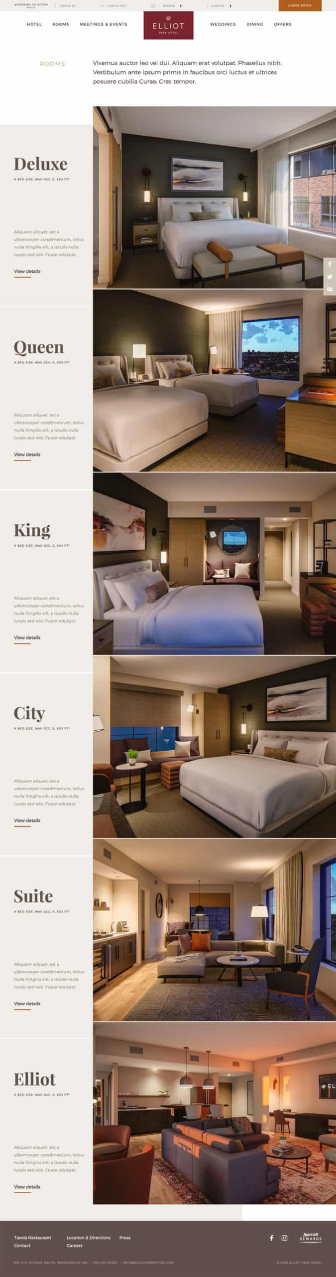 Screenshot of the Elliot Park Hotel room listing page